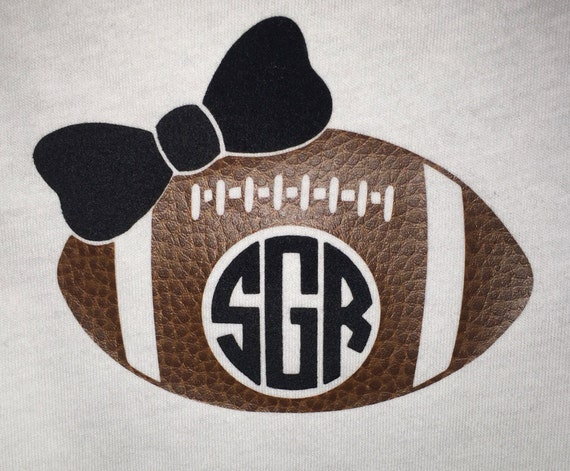 Ladies Football Monogram With Fuzzy Bow Tank Top - Made With 3-D Textured Vinyl - Authentic Looking  Football Mom Football Girlfriend