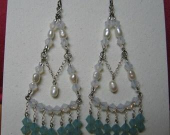 Swarovski and freshwater pearls chandelier earrings