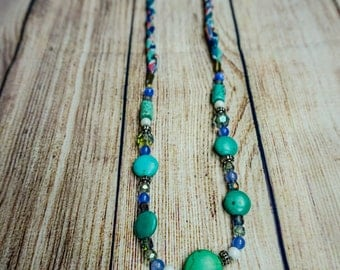 Turquoise & Fabric Necklace