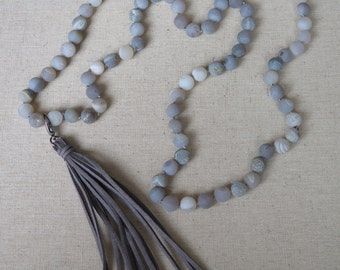 Grey Druzy on Linen Knotted Cord with Grey Leather Tassel