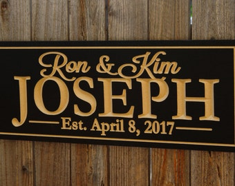 Engraved Family Name Sign, Wedding Gift, Housewarming Gift, Bridal Gift, Carved, Plaque