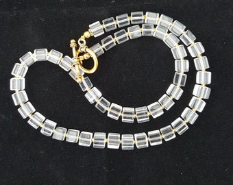 Crystal clear beaded necklace with square glass beads