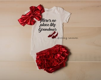 There's no place like Grandma's infant girl bodysuit, baby girl bodysuit, coming home outfit, infant outfit, newborn outfit, wizard of oz