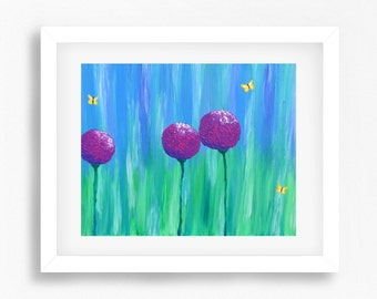 Purple Flowers Print, Purple Flowers Painting, Purple Wall Art, Purple Decor, Purple Art, Abstract Flowers Print, Abstract Purple Artwork