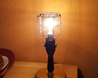 Table lamp upcycled vintage rubberised garage mechanic light.