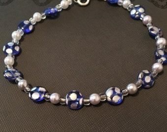 "Blue Polka-Dot Anklet - 11"""
