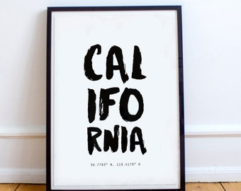 California State, Poster, CA Coordinates, typography poster, CA, US States,  prints, framed print, large wall art, artsy, unique gift