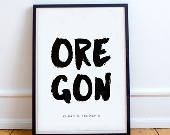 Oregon State, Poster, OR Coordinates, typography poster, US States, prints, framed prints, large wall art, artsy, unique gifts