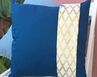 "Hand Made-Decorative Throw Pillow-Cushion Cover-Book Marker-Blue and Gold-16""x 16"""