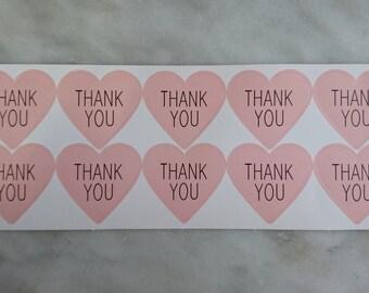 50 Thank You Stickers (heart shape)