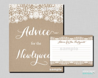 Advice for the Newlyweds - Burlap and Lace Bridal Shower Advice Cards - Burlap, Lace, Rustic Bridal Shower Activity, Rustic Bridal Shower