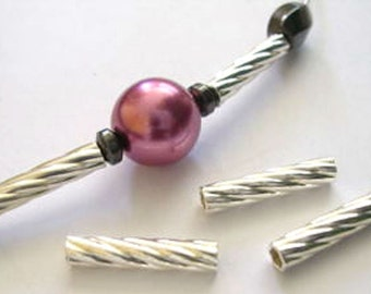10 Twisted Sterling Silver Tube Beads 3x15 mm For Jewelery Making B018