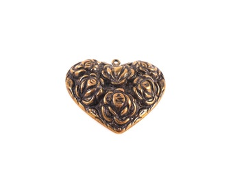 Gold Heart Pendant - Gold Heart Charm - Gold Rose Pendant - Gold Rose Charm - Antique Gold Charm - Brass Heart Charm - Gold Heart Necklace