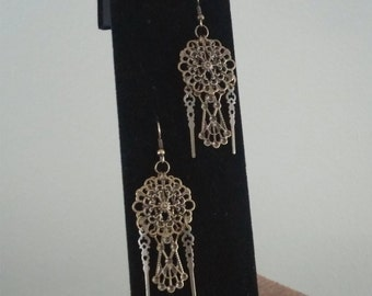 Antique Gold Filigree Dangle Earrings with Clock Hand Findings and Glass Pearls (optional)