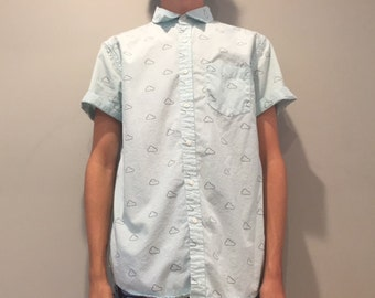 Forever 21 Teal Clouds Collared Shirt (Size Small)