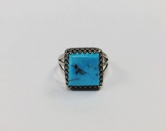 Native American Blue Turquoise Square Ring