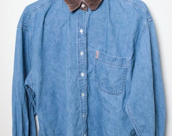Denim Long Sleeve Button Up With Corduroy Collar and Cuffs (Large)