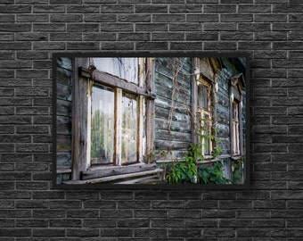Wooden Windows Photography - Windows Print - Old House Print - Wooden House Photo - Rustic Decor - House Photography - Wooden Wall Decor