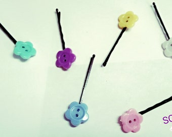 Pastel Flower Bobbies (set of 4)