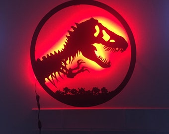 Jurassic Park Lamp - Lighted Jurassic Park and World Logo Wall Sign - Bright LED