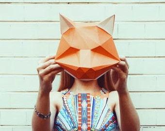 Medium Fox DIY KIT/ Room Decor/ Paper Craft/ Wall Decor/ Paper Animal Head/ DIY Paper Craft/ Paper Fox/ Fox Head/ Origami
