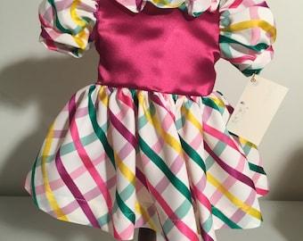 American Girl Doll Dress-Multicolored Plaid