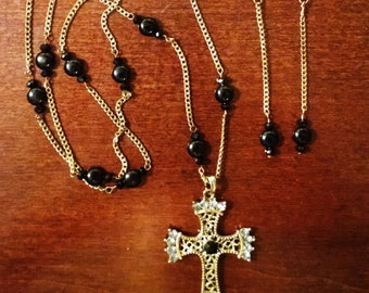 Embelished Cross necklace with Antique brass chain