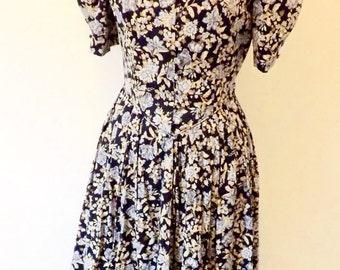 1980s Laura Ashley vintage floral tea dress