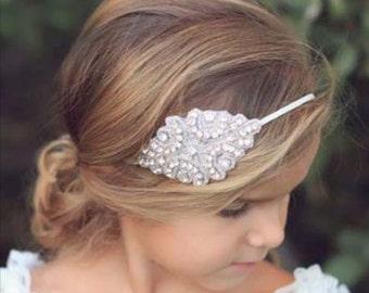Flower Girl Rhinestone Headband, Flower Girl Headpiece, Flower Girl Hair Accessory, Beaded Headband, Baptism Headband, Bridesmaid Headband