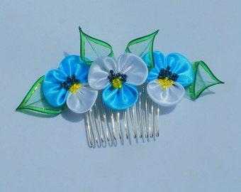 Kanzashi Fabric Flower hair comb