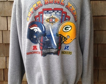 Vintage 90s DENVER BRONCOS Super Bowl Sweatshirt by Pro Player - XL - Green Bay Packers