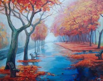 Original Acrylic Painting on canvas Autumn landscape
