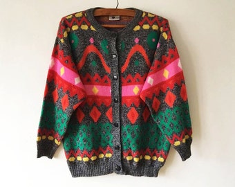 Vintage Colorful Women's Jacket Bright Abstract Print Knitted Jacket Ugly Sweater Jacket Cosby Women's Jacket Hipster Jumper Size Large