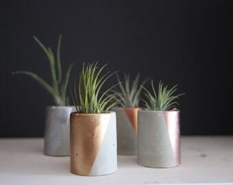 """Concrete Planter. """"Mini"""" Concrete Succulent Planter. Mini Planter. Concrete and Gold. Concrete and Rose Gold. Concrete & Copper."""