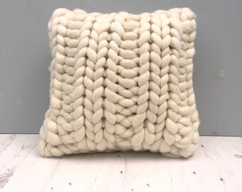 Super Chunky Knitted  Cushion. Giant Knitting. Bulky Knitted Cushion. Merino Wool