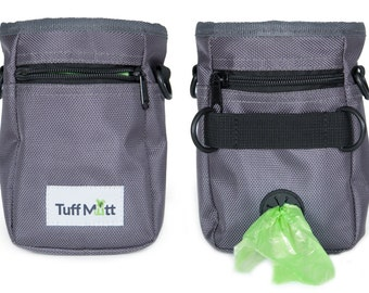 Dog Treat Pouch for Training, Carries Treats and Toys, Poop Bag Dispenser, Includes 1 Roll of Pet Waste Bags, Adjustable Waist Belt