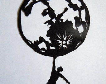 Man And The Moon Paper Cut