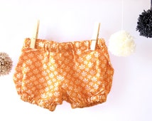 Orange Bloomers, Unisex Bloomers, Retro Bloomers, Baby Bubble Shorts, Cotton Diaper Cover Shorts, Orange Nappy Cover, Baby Shower Gift
