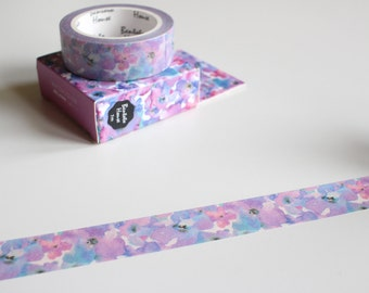 Purple Floral Washi Tape, Watercolour Flower Tape, Purple Flowers Washi, Pretty Washi Tape (FL-105)