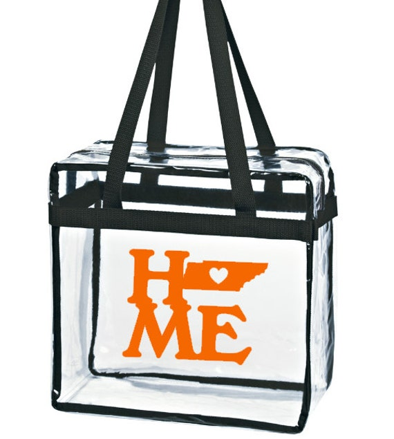 Football Stadium Approved Clear Tote/Tennessee HOME State/ Game Day Bag with Zipper Closure