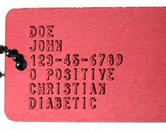 Custom Red Medic Alert Dog Tag. Military Dog Tag. Accessories for Men. Accessories for Women. Accessories for Kids.