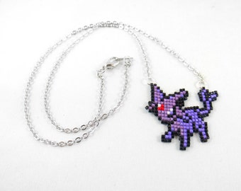 Espeon Necklace - Pixel Necklace Pokemon Necklace Pixel Jewelry 8 bit Necklace Seed Bead Neklace Video Game Necklace Eeveelution Necklace