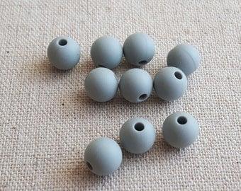 9mm 10 pcs Silicone Beads, Light Gray Beads, Gray Jewelry Supplies, Light Gray Beads, Gray Silicone Beads, BPA Free Beads, 9 mm Beads