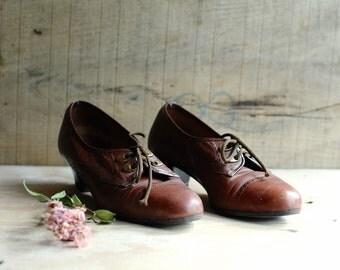 Vintage shoes, Shoes, Leather Shoes, High Heel Shoes, Woman Shoes size 6, Vintage Brown leather shoes, 50s shoes, Dress shoes, Boho shoes