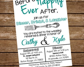Rehearsal Dinner Invite, Rehearsal Dinner Invitation, Before Happily Ever After Invitation, Before Happily Ever After Invite