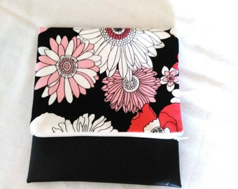 Floral Fold-over Clutch Purse with faux leather - red pink white flowered fabric - zipper pouch or clutch
