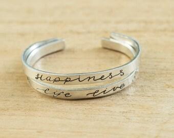 Handmade personal bracelet with custom text