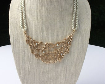 Siren Gold Coral Mermaid Rope Necklace / Golden & Taupe