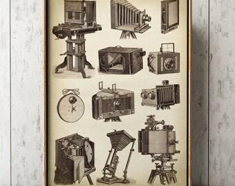 Photo cameras poster art print, old photo camera, photographer gift, photography art, vintage photo camera wall decor, black and white art