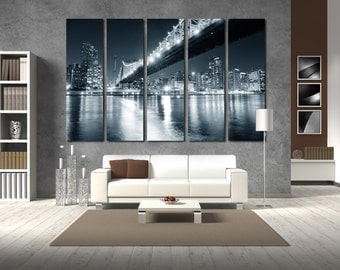 Large Wall BW New York Cityscape Canvas BW Multipanel Canvas Big Apple View Canvas Art Large  1-3-4-5 Panel Night City Print